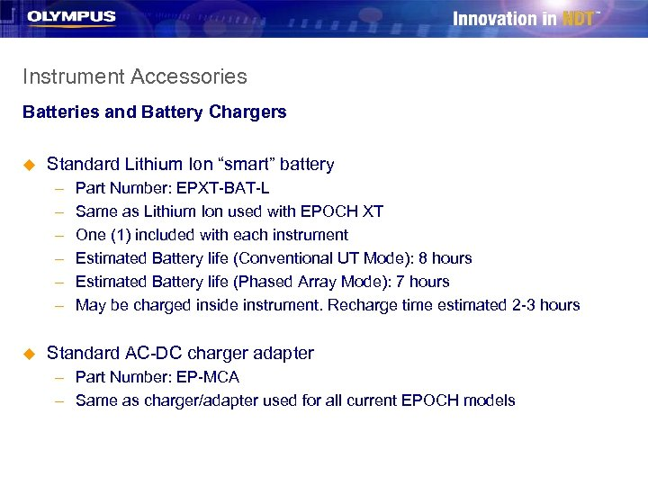 """Instrument Accessories Batteries and Battery Chargers u Standard Lithium Ion """"smart"""" battery – –"""