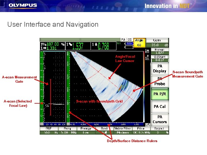 User Interface and Navigation Angle/Focal Law Cursor S-scan Soundpath Measurement Gate A-scan (Selected Focal