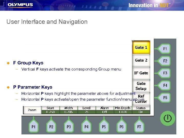 User Interface and Navigation u F Group Keys – Vertical F keys activate the