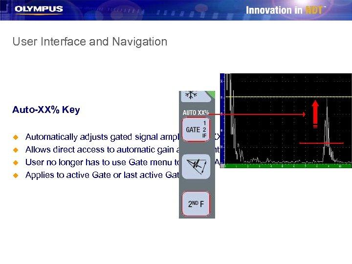 User Interface and Navigation Auto-XX% Key u u Automatically adjusts gated signal amplitude to