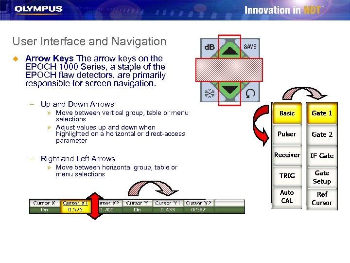 User Interface and Navigation u Arrow Keys The arrow keys on the EPOCH 1000