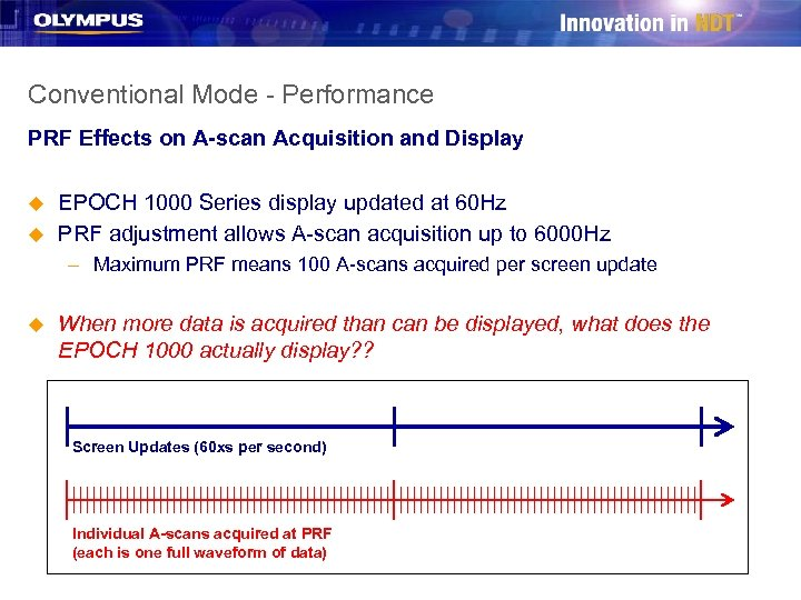 Conventional Mode - Performance PRF Effects on A-scan Acquisition and Display u u EPOCH