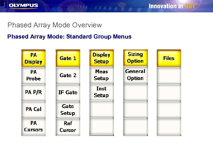 Phased Array Mode Overview Phased Array Mode: Standard Group Menus