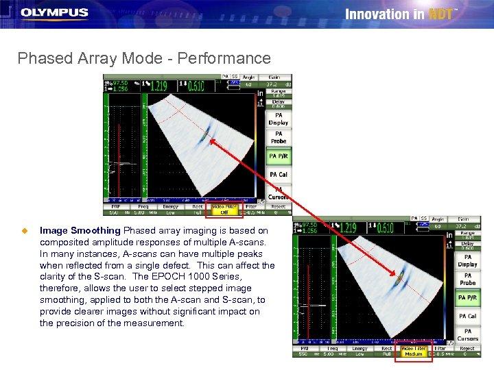 Phased Array Mode - Performance u Image Smoothing Phased array imaging is based on