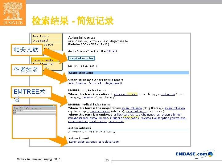 检索结果 - 简短记录 相关文献 作者姓名 EMTREE术 语 Vickey Ye, Elsevier Beijing, 2006 26