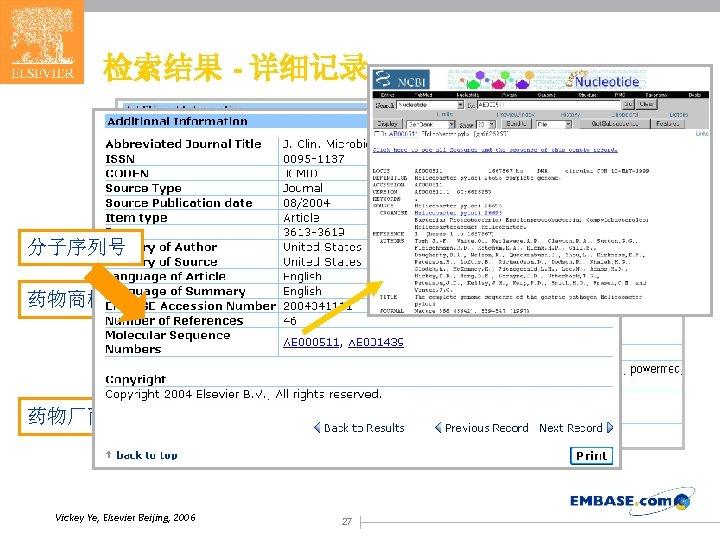 检索结果 - 详细记录 分子序列号 药物商标 药物厂商 Vickey Ye, Elsevier Beijing, 2006 27