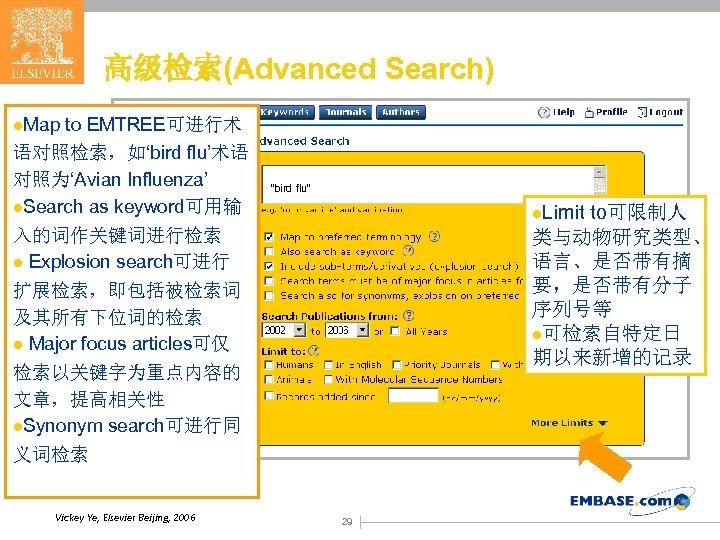 高级检索(Advanced Search) l. Map to EMTREE可进行术 语对照检索,如'bird flu'术语 对照为'Avian Influenza' l. Search as keyword可用输