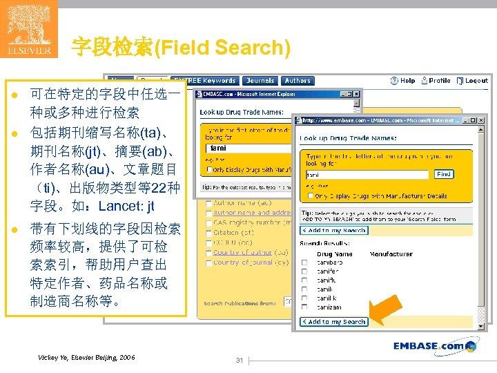 字段检索(Field Search) l l l 可在特定的字段中任选一 种或多种进行检索 包括期刊缩写名称(ta)、 期刊名称(jt)、摘要(ab)、 作者名称(au)、文章题目 (ti)、出版物类型等22种 字段。如:Lancet: jt tami