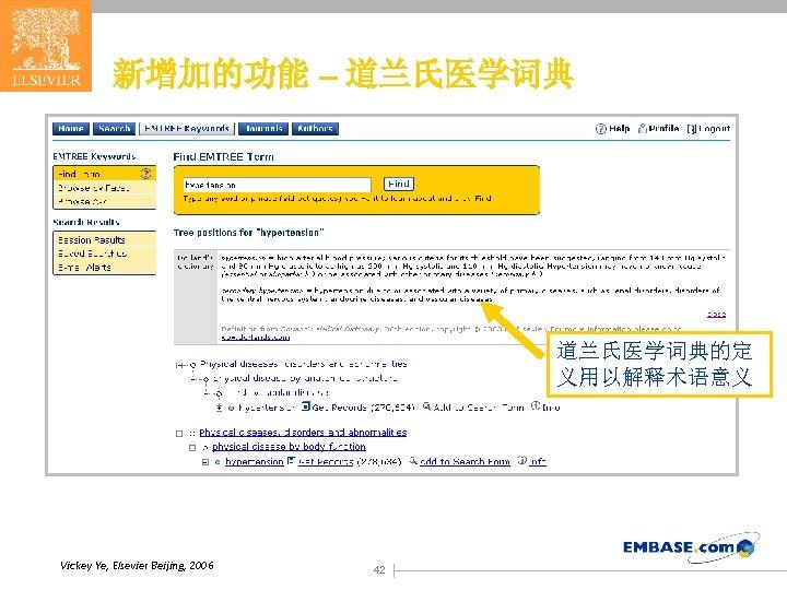 新增加的功能 – 道兰氏医学词典的定 义用以解释术语意义 Vickey Ye, Elsevier Beijing, 2006 42