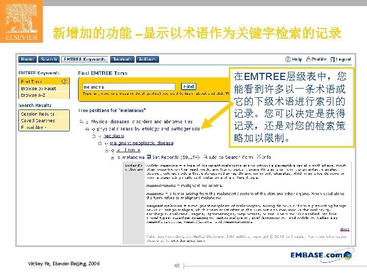 新增加的功能 –显示以术语作为关键字检索的记录 在EMTREE层级表中,您 能看到许多以一条术语或 它的下级术语进行索引的 记录。您可以决定是获得 记录,还是对您的检索策 略加以限制。 Vickey Ye, Elsevier Beijing, 2006 45
