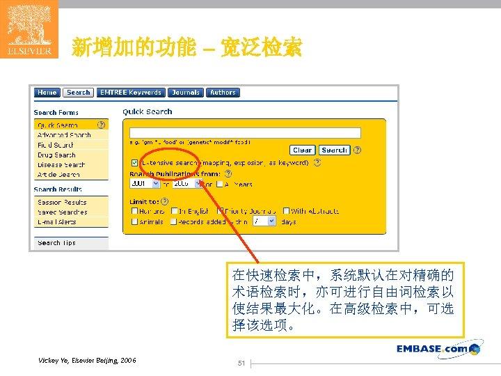 新增加的功能 – 宽泛检索 在快速检索中,系统默认在对精确的 术语检索时,亦可进行自由词检索以 使结果最大化。在高级检索中,可选 择该选项。 Vickey Ye, Elsevier Beijing, 2006 51