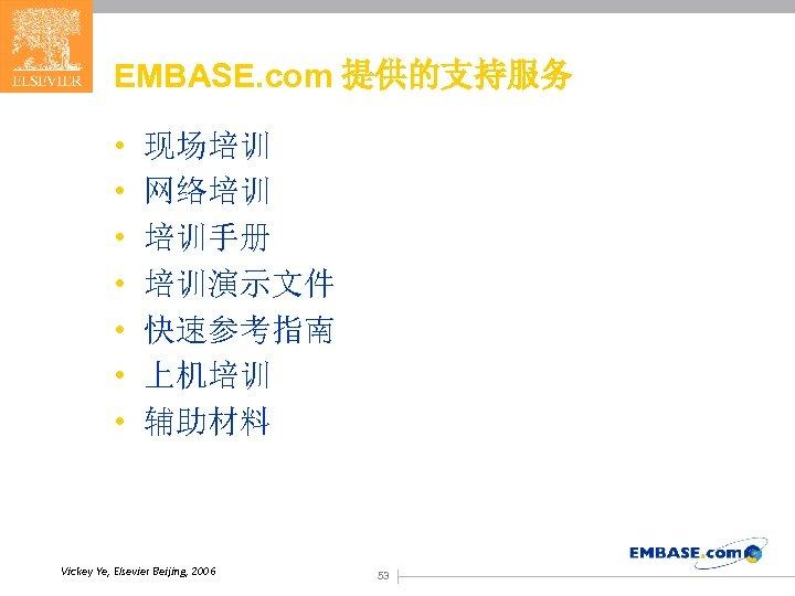 EMBASE. com 提供的支持服务 • • 现场培训 网络培训 培训手册 培训演示文件 快速参考指南 上机培训 辅助材料 Vickey Ye,
