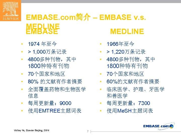 EMBASE. com简介 – EMBASE v. s. MEDLINE EMBASE MEDLINE • 1974 年至今 • >