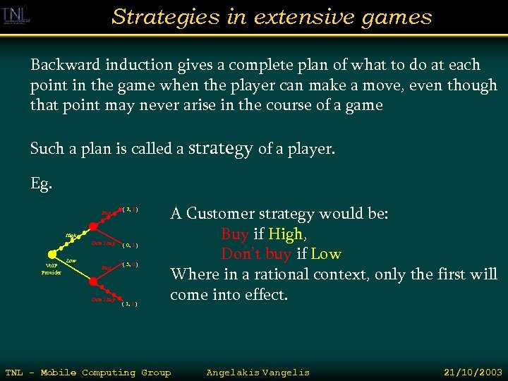 Strategies in extensive games Backward induction gives a complete plan of what to do