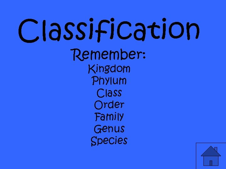 Classification Remember: Kingdom Phylum Class Order Family Genus Species