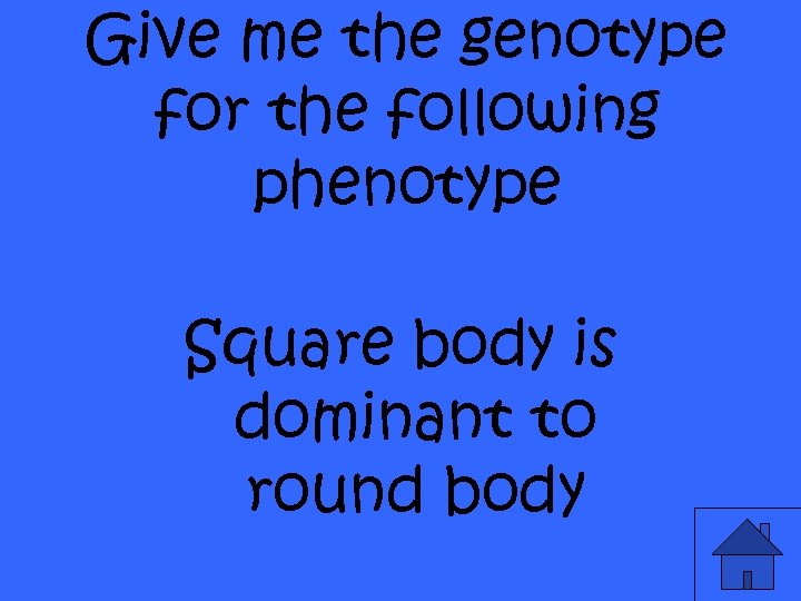 Give me the genotype for the following phenotype Square body is dominant to round