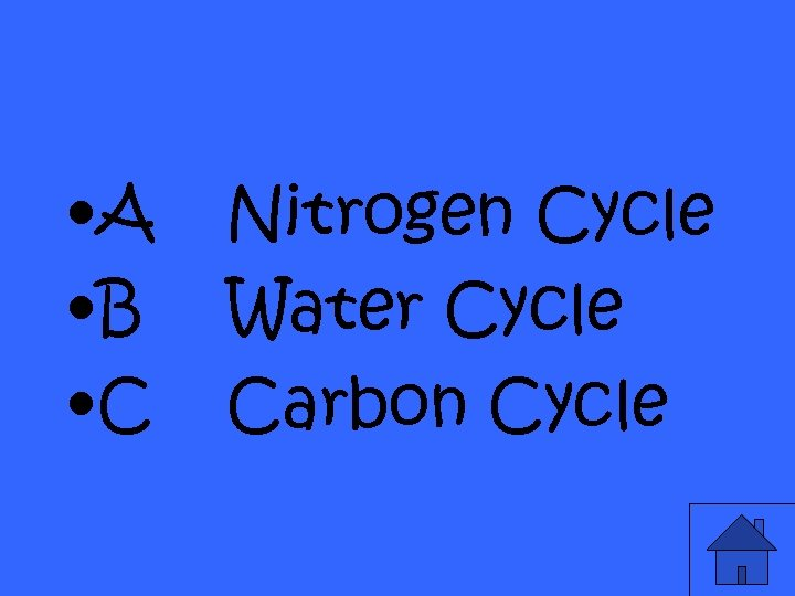 • A • B • C Nitrogen Cycle Water Cycle Carbon Cycle