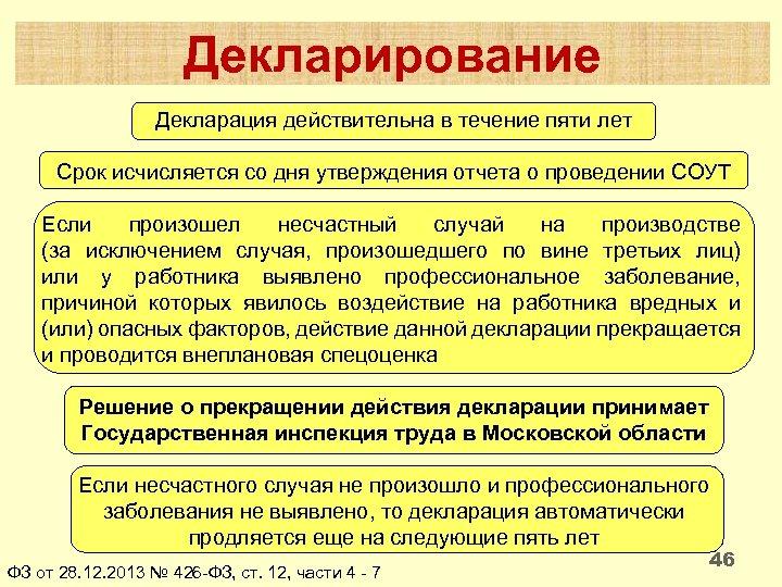 Декларирование Декларация действительна в течение пяти лет Срок исчисляется со дня утверждения отчета о