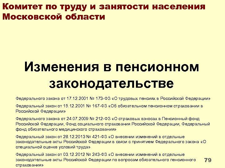 Комитет по труду и занятости населения Московской области Изменения в пенсионном законодательстве Федерального закона