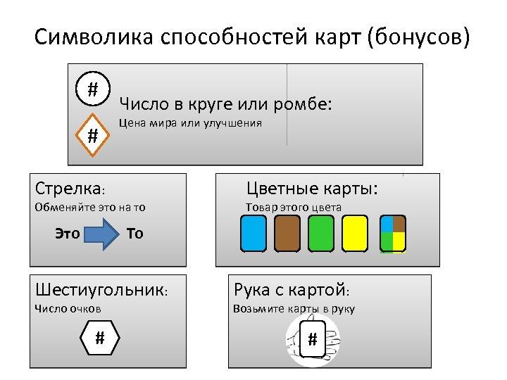 Символика способностей карт (бонусов) # # Число в круге или ромбе: Цена мира или