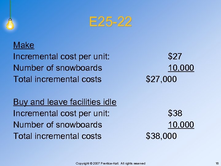 E 25 -22 Make Incremental cost per unit: Number of snowboards Total incremental costs