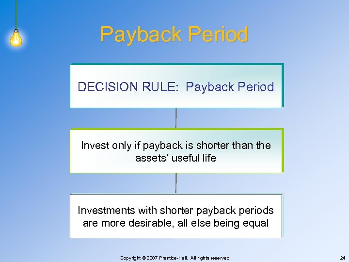 Payback Period DECISION RULE: Payback Period Invest only if payback is shorter than the