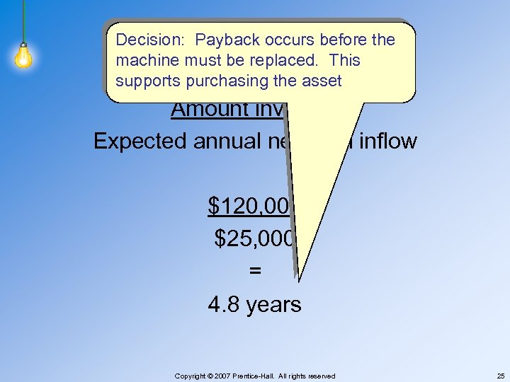 Decision: Payback occurs before the machine must be replaced. This supports purchasing the asset