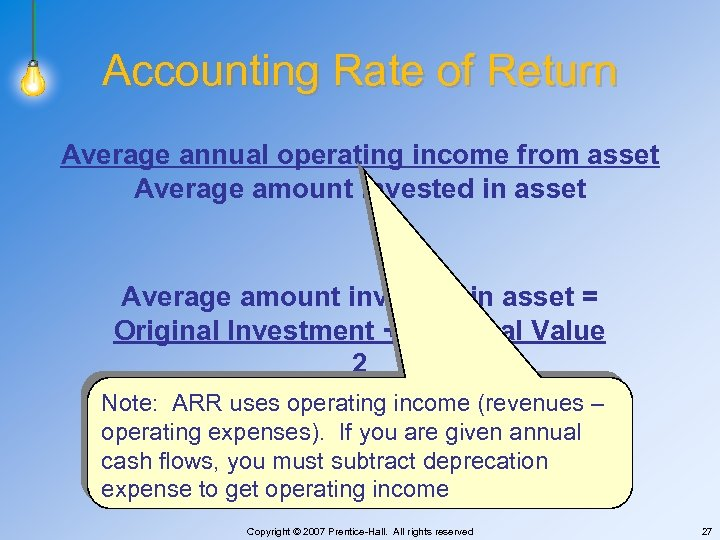 Accounting Rate of Return Average annual operating income from asset Average amount invested in