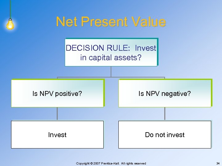 Net Present Value DECISION RULE: Invest in capital assets? Is NPV positive? Is NPV