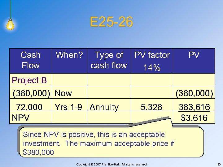 E 25 -26 Cash Flow When? Type of PV factor cash flow 14% PV