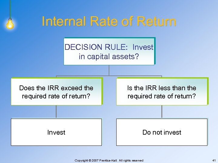 Internal Rate of Return DECISION RULE: Invest in capital assets? Does the IRR exceed