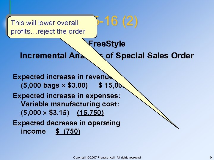 E 25 -16 (2) This will lower overall profits…reject the order Free. Style Incremental