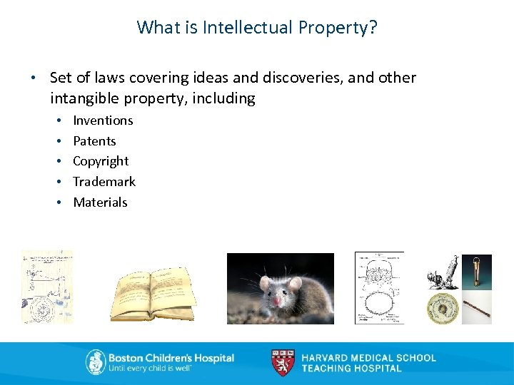 What is Intellectual Property? • Set of laws covering ideas and discoveries, and other