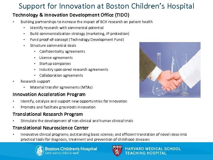 Support for Innovation at Boston Children's Hospital Technology & Innovation Development Office (TIDO) •