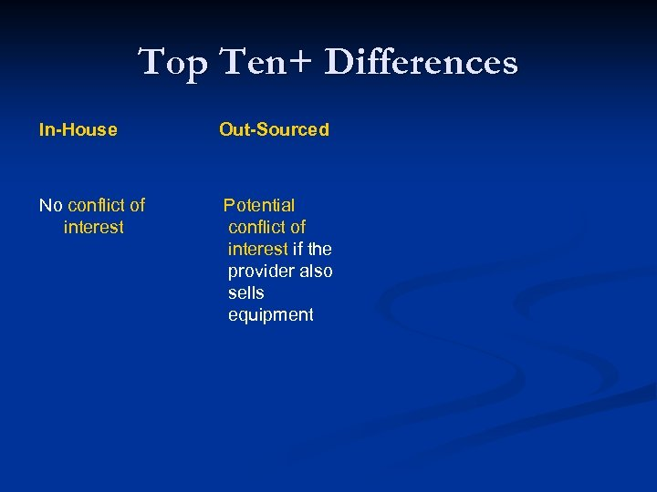 Top Ten+ Differences In-House Out-Sourced No conflict of interest Potential conflict of interest if