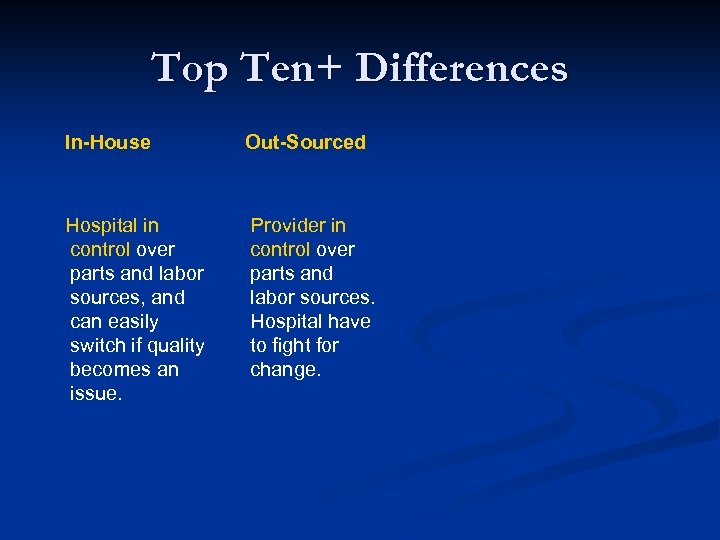 Top Ten+ Differences In-House Out-Sourced Hospital in control over parts and labor sources, and
