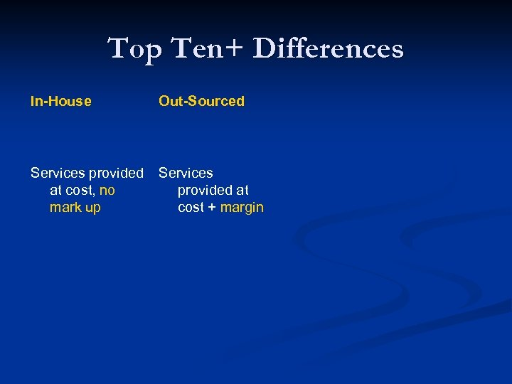Top Ten+ Differences In-House Out-Sourced Services provided at cost, no mark up Services provided