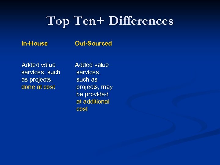 Top Ten+ Differences In-House Out-Sourced Added value services, such as projects, done at cost