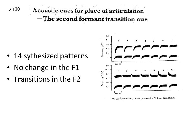 p 138 • 14 sythesized patterns • No change in the F 1 •