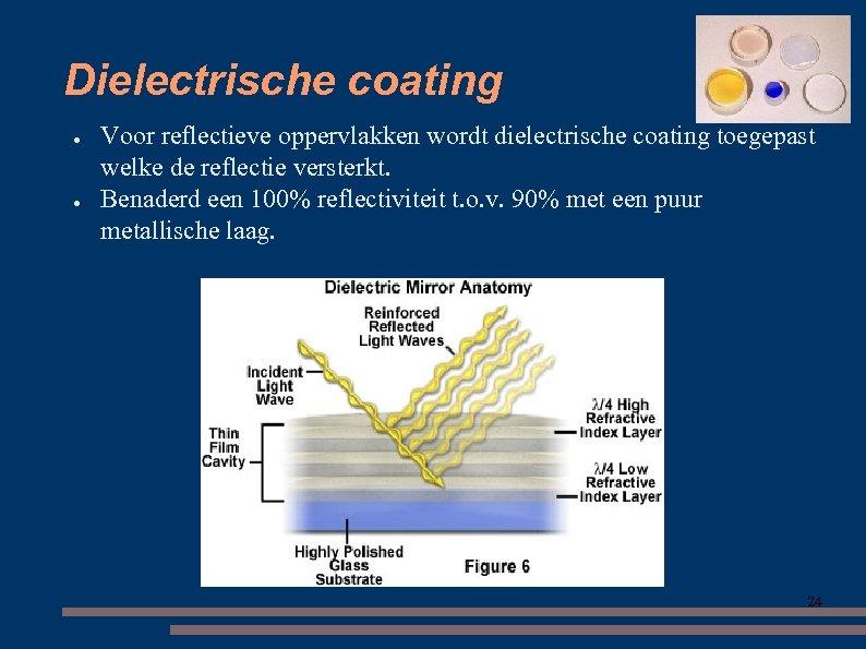 Dielectrische coating ● ● Voor reflectieve oppervlakken wordt dielectrische coating toegepast welke de reflectie
