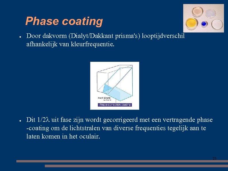 Phase coating ● ● Door dakvorm (Dialyt/Dakkant prisma's) looptijdverschil afhankelijk van kleurfrequentie. Dit 1/2