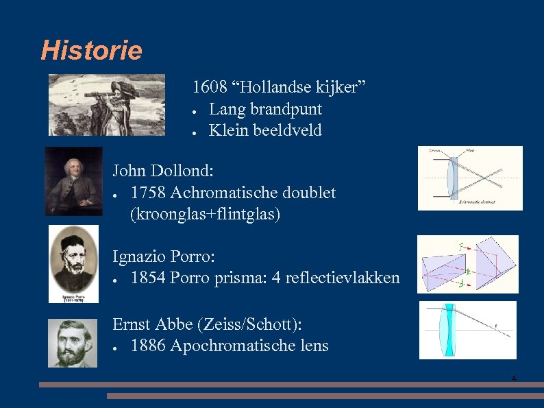 "Historie 1608 ""Hollandse kijker"" ● Lang brandpunt ● Klein beeldveld John Dollond: ● 1758"