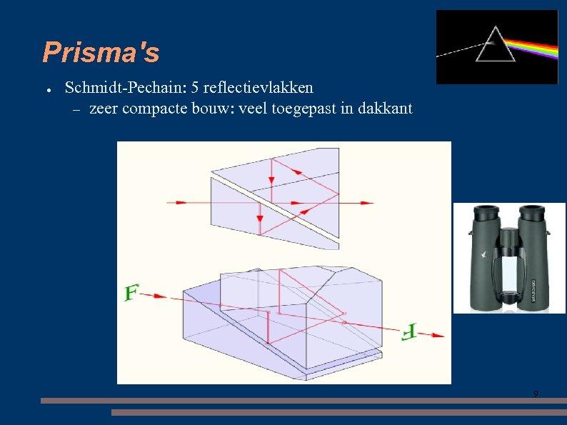 Prisma's ● Schmidt-Pechain: 5 reflectievlakken – zeer compacte bouw: veel toegepast in dakkant 9