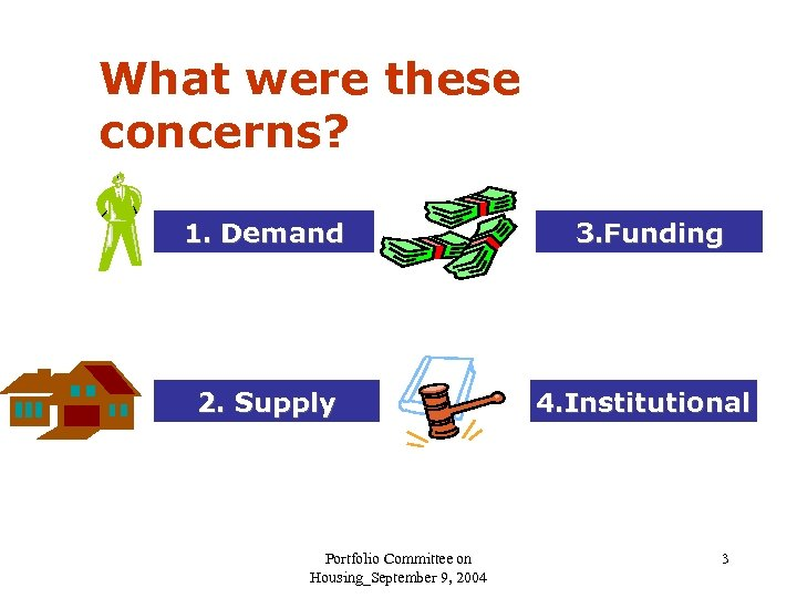 What were these concerns? 1. Demand 3. Funding 2. Supply 4. Institutional Portfolio Committee