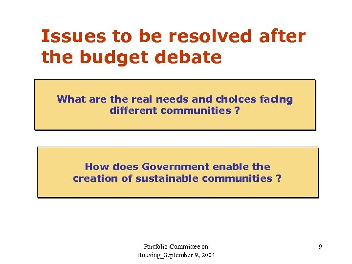 Issues to be resolved after the budget debate What are the real needs and