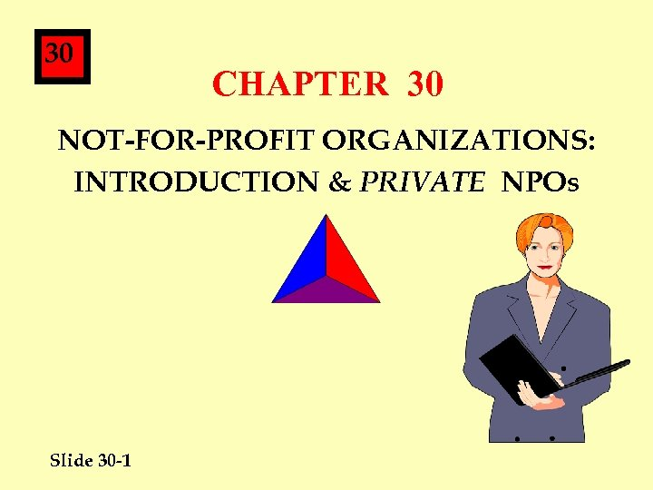30 CHAPTER 30 NOT-FOR-PROFIT ORGANIZATIONS: INTRODUCTION & PRIVATE NPOs Slide 30 -1