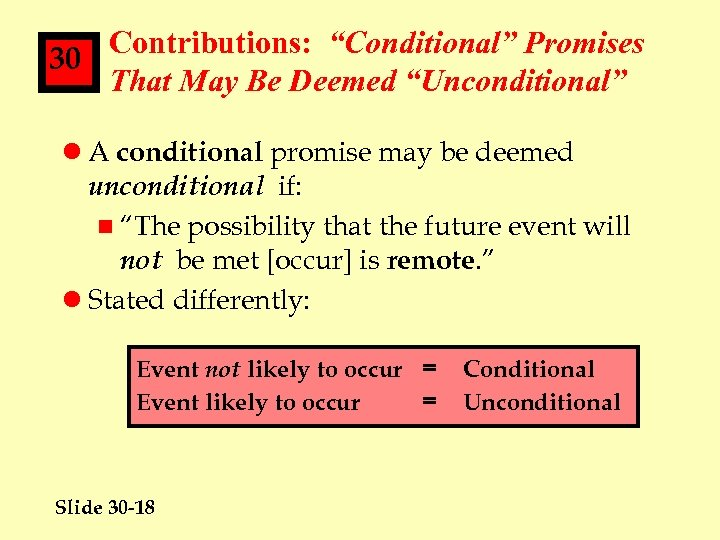"Contributions: ""Conditional"" Promises 30 That May Be Deemed ""Unconditional"" l A conditional promise may"