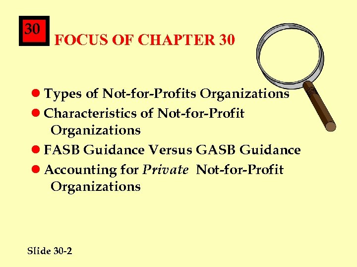 30 FOCUS OF CHAPTER 30 l Types of Not-for-Profits Organizations l Characteristics of Not-for-Profit