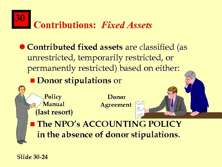 30 Contributions: Fixed Assets l Contributed fixed assets are classified (as unrestricted, temporarily restricted,