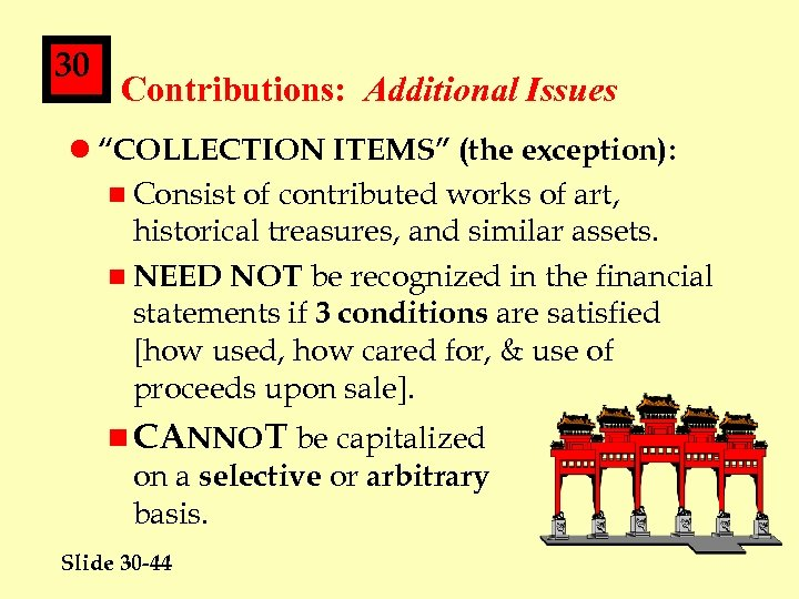 "30 Contributions: Additional Issues l ""COLLECTION ITEMS"" (the exception): n Consist of contributed works"
